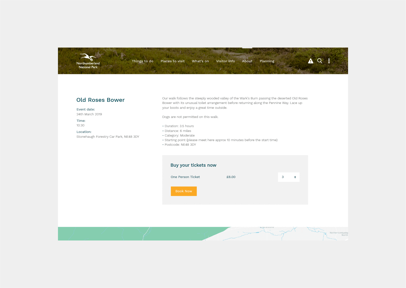 Web development for Northumberland National Park