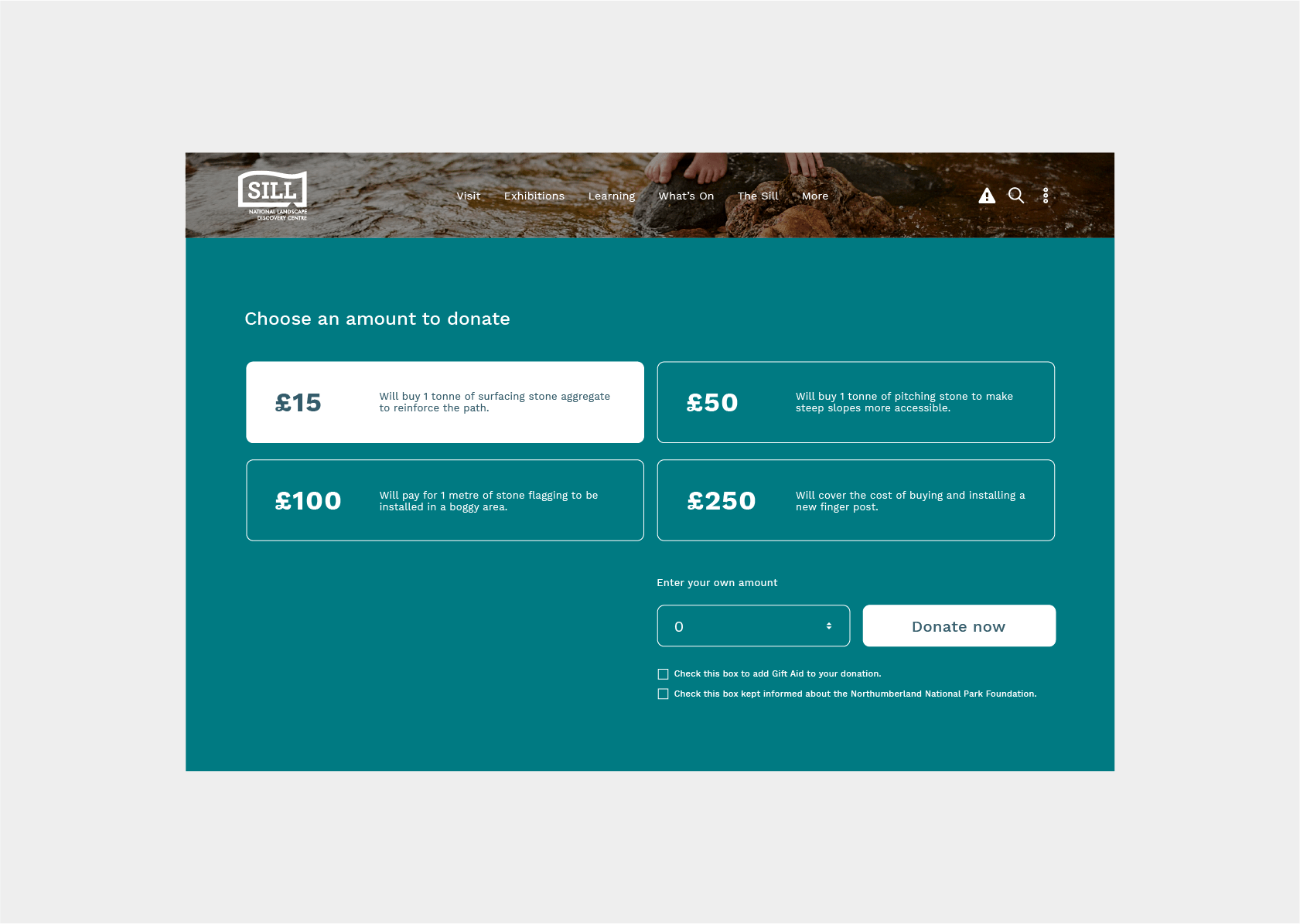 Donation functionality for Northumberland National Park