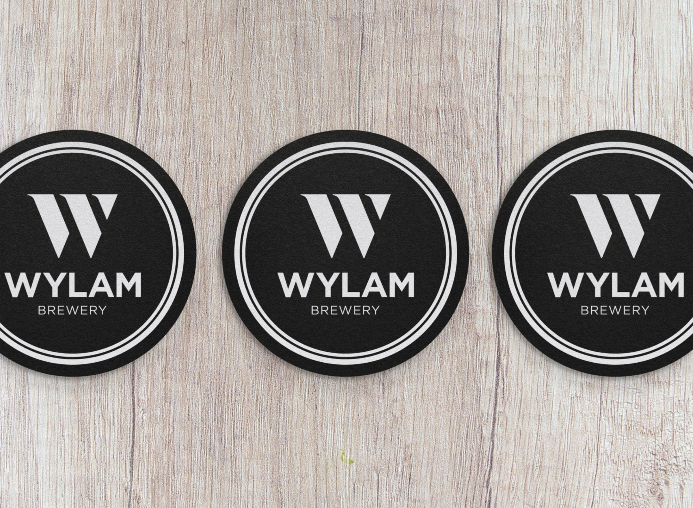 Logo design for Wylam Brewery on beer mats