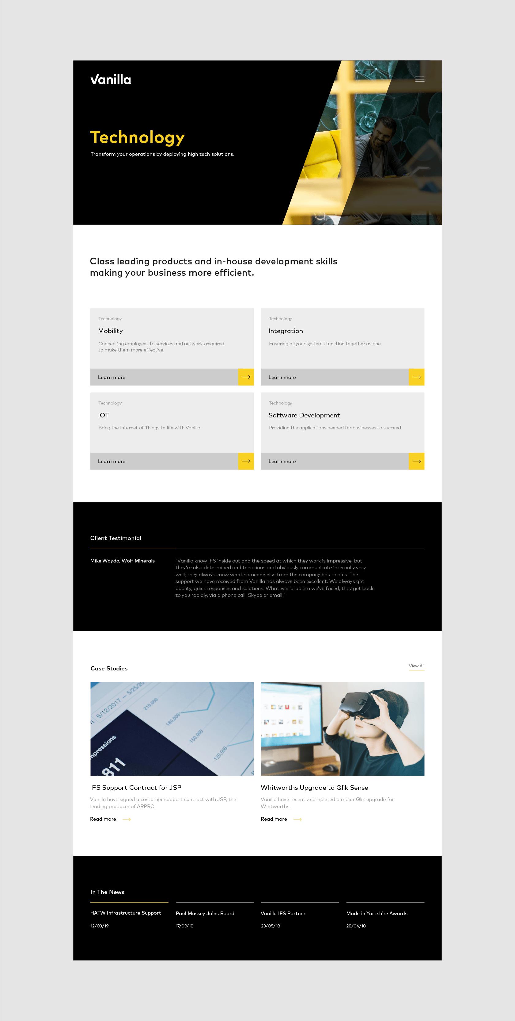 Website development for Vanilla