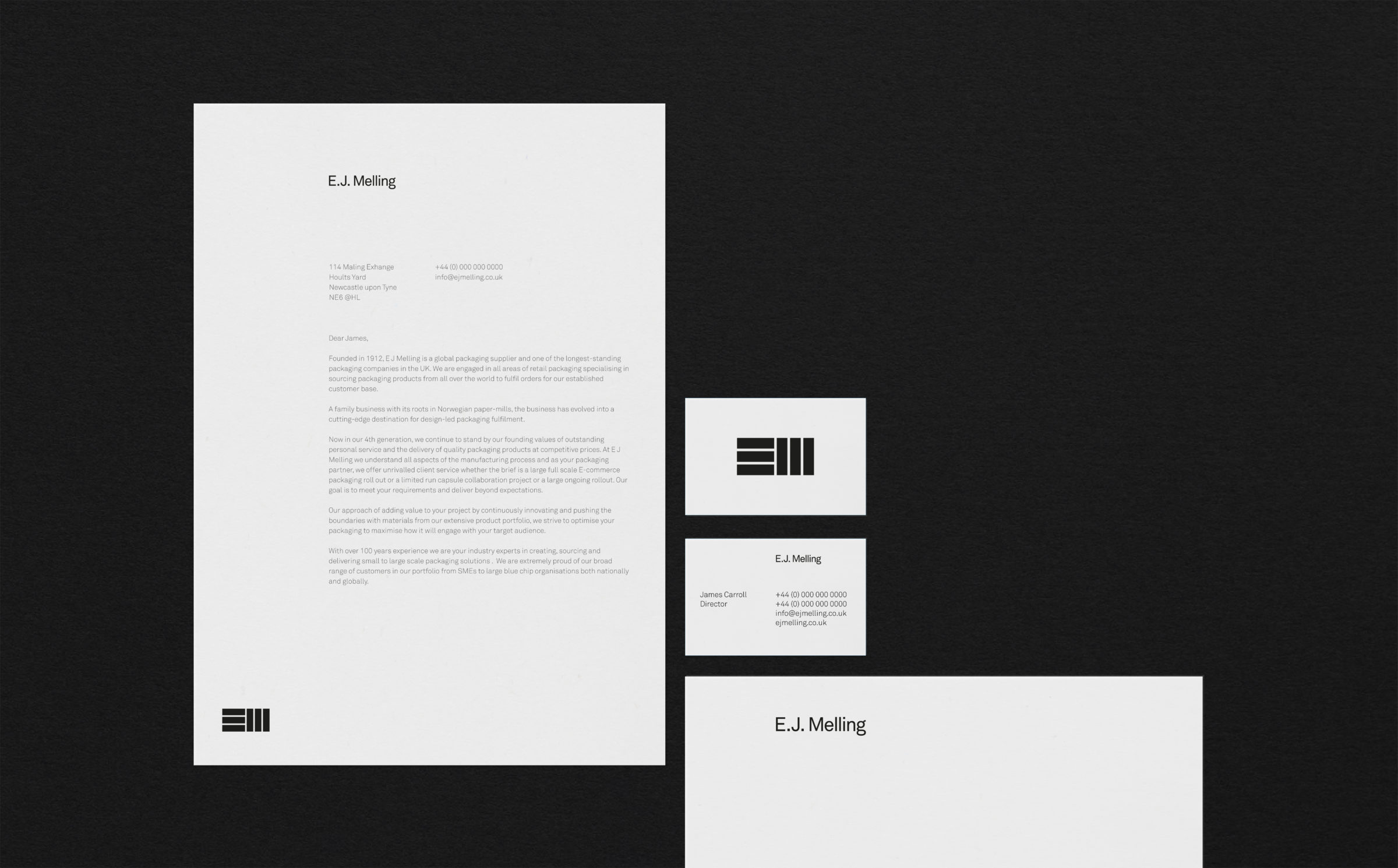 Business stationary design for EJ Melling