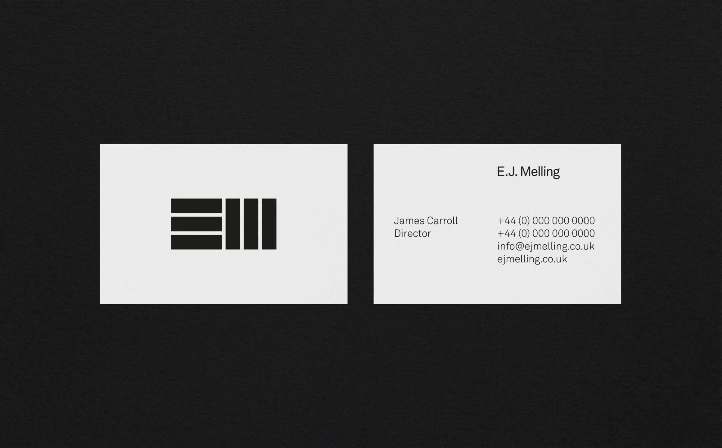 Business card design for EJ Melling