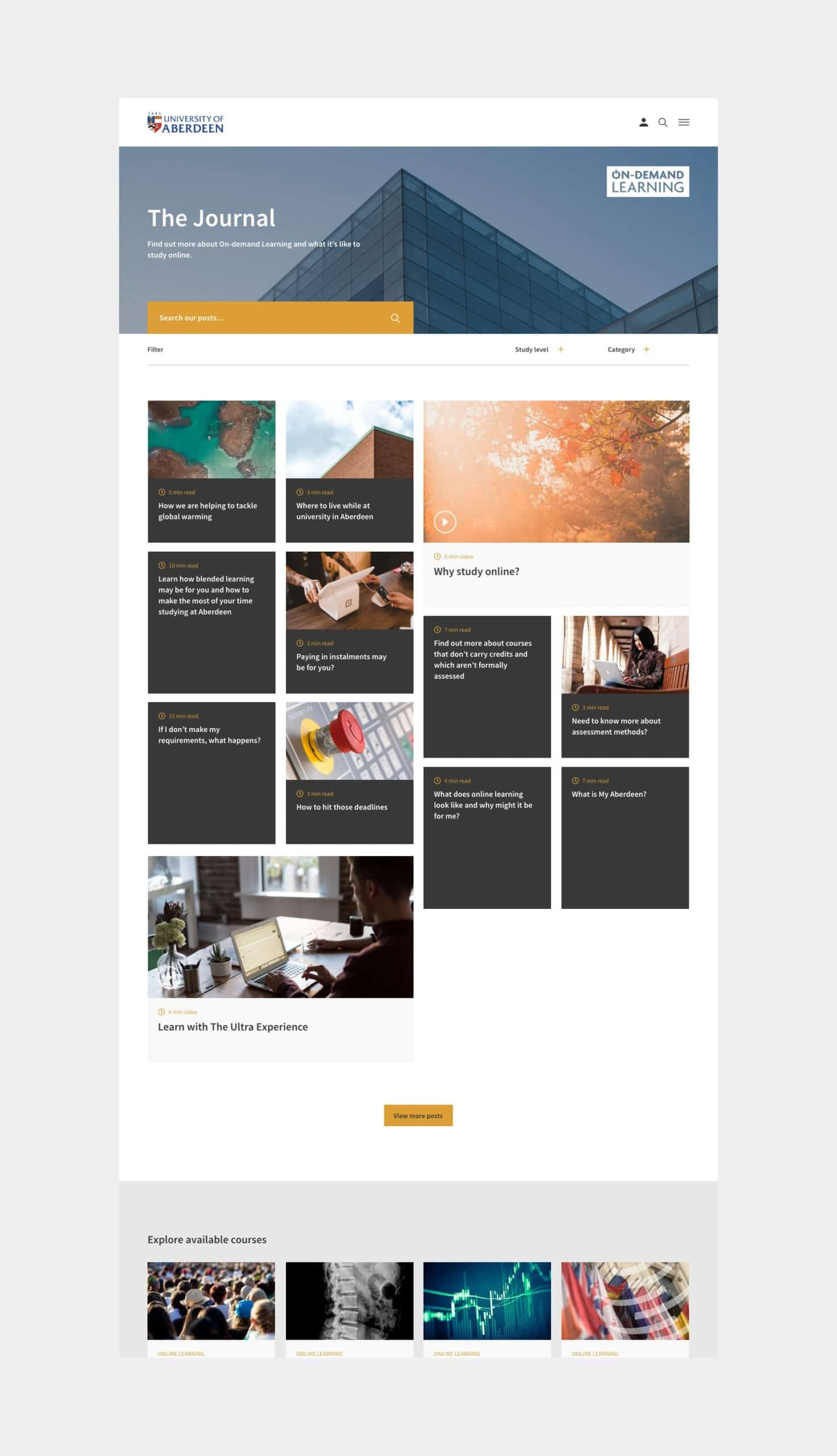 Website design for University of Aberdeen