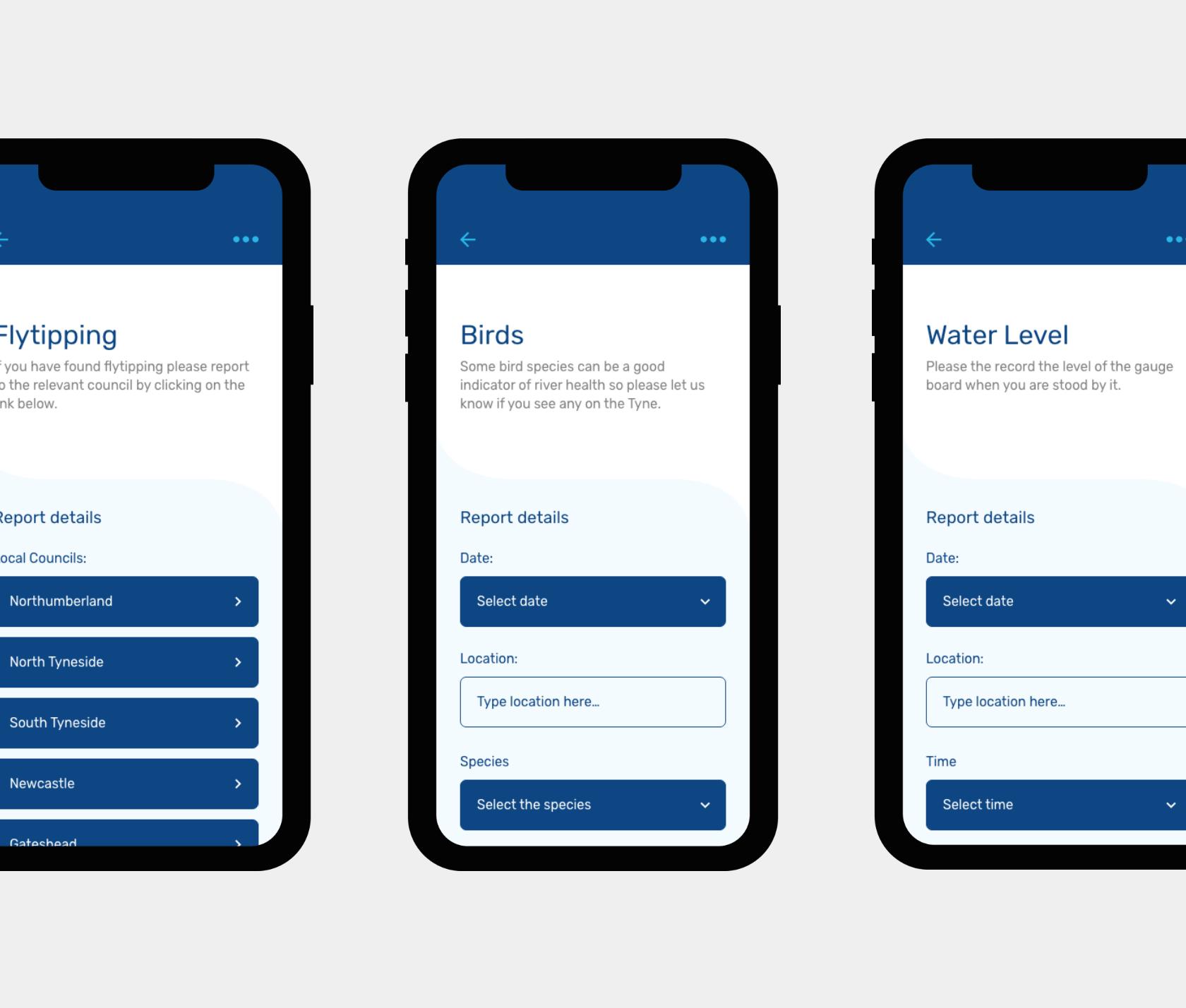 Mobile app design for Tyne Rivers Trust