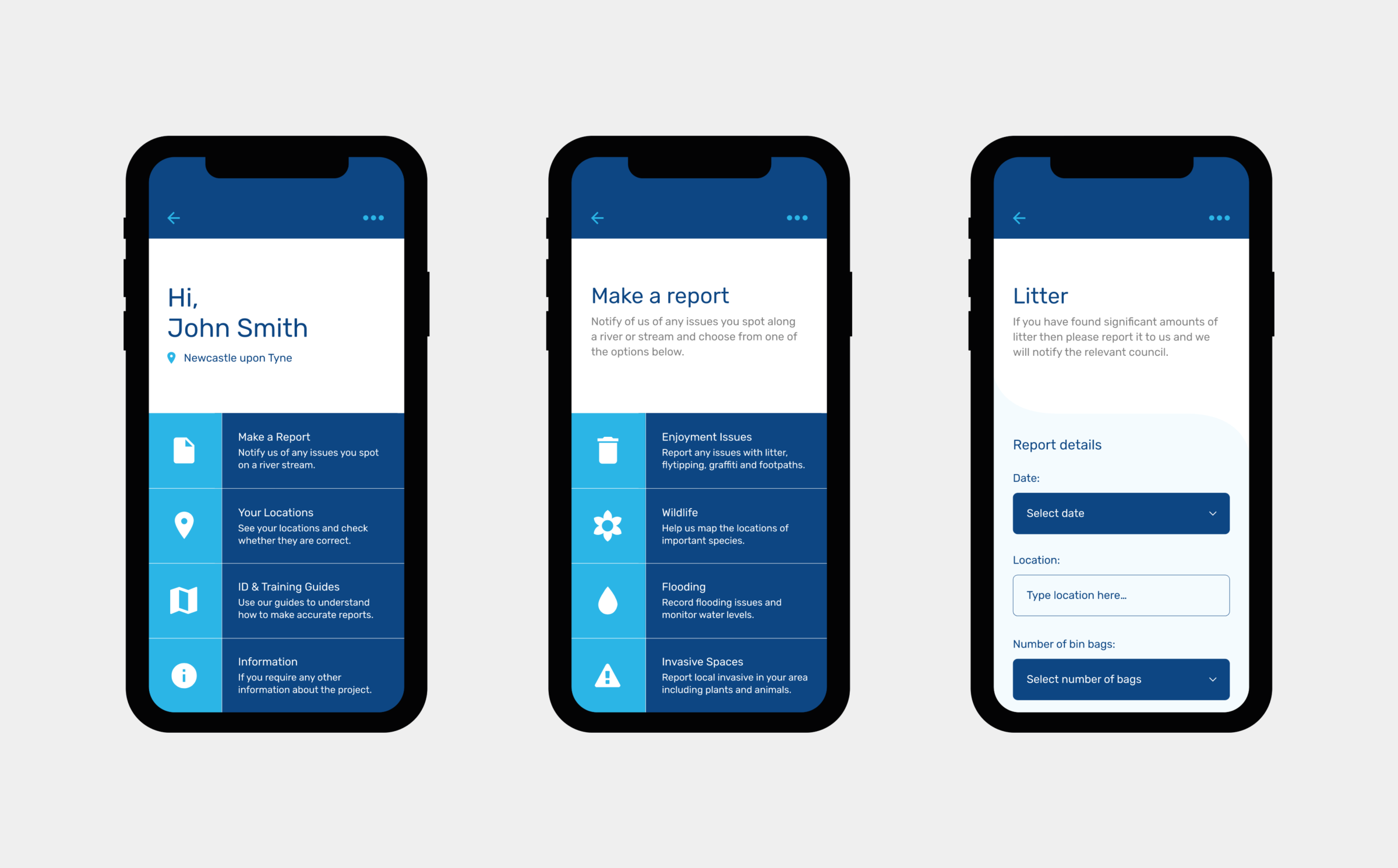 Mobile app design for Tyne Rivers Trust