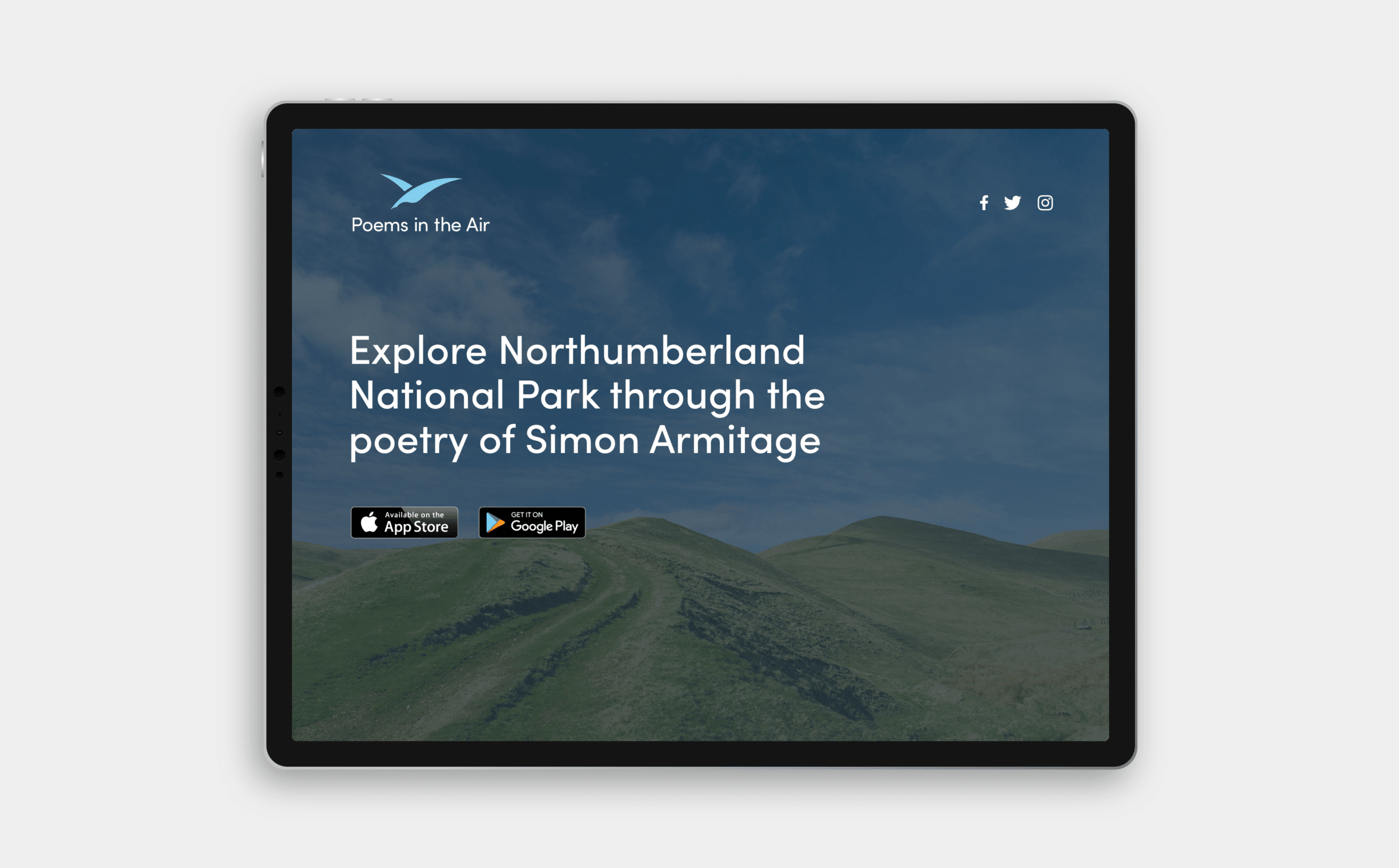 Website design for the Poems in the Air app