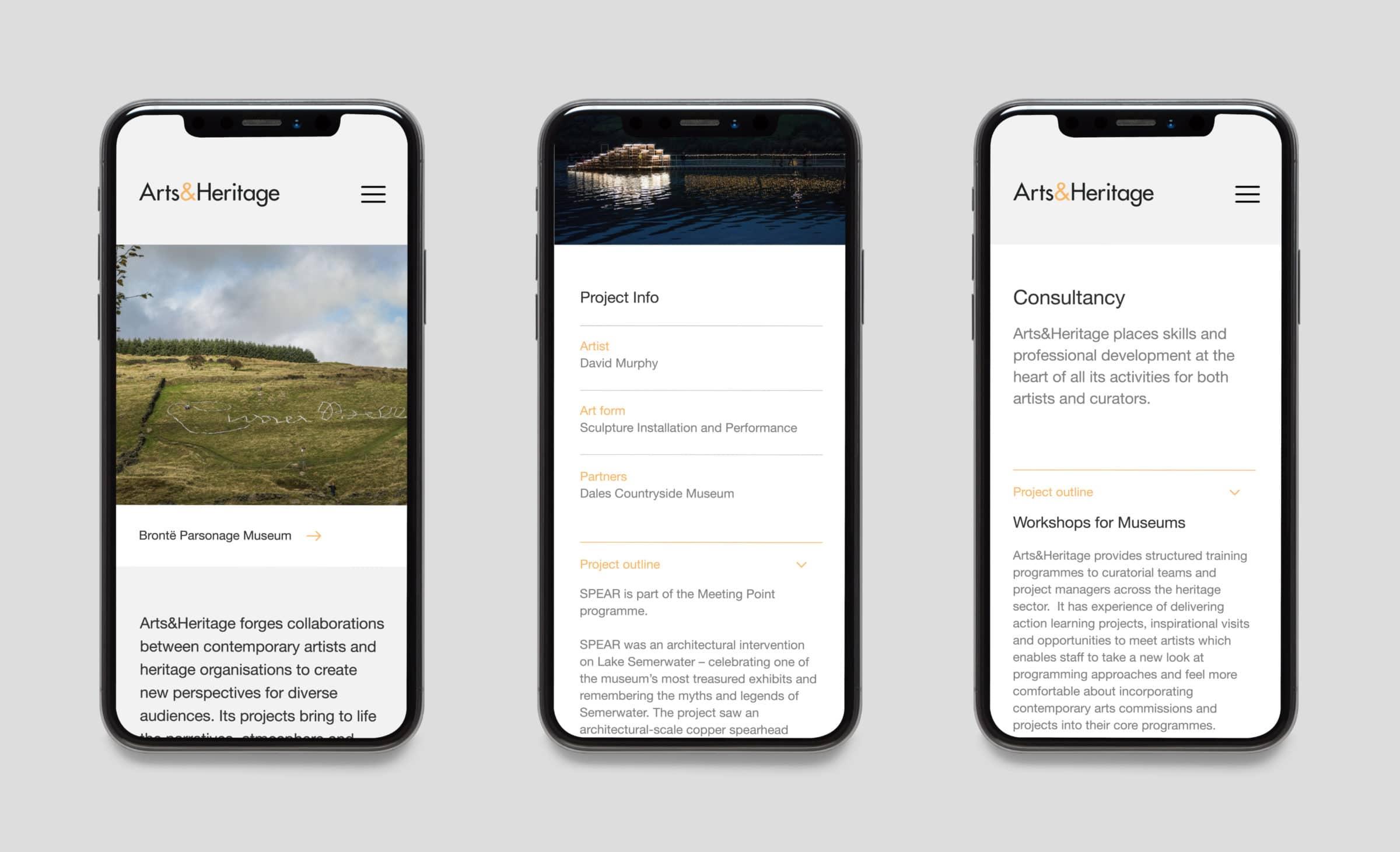 Three iPhones showing the Arts&Heritage website