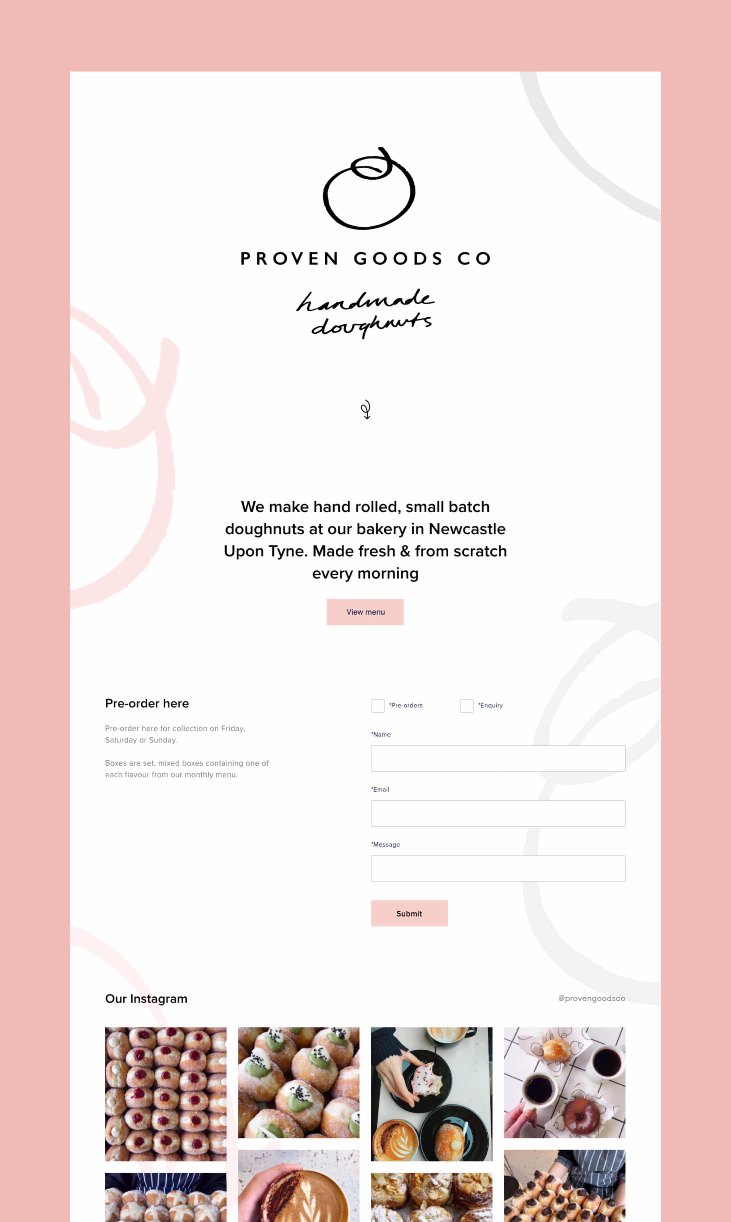 Screenshot of Proven Goods website