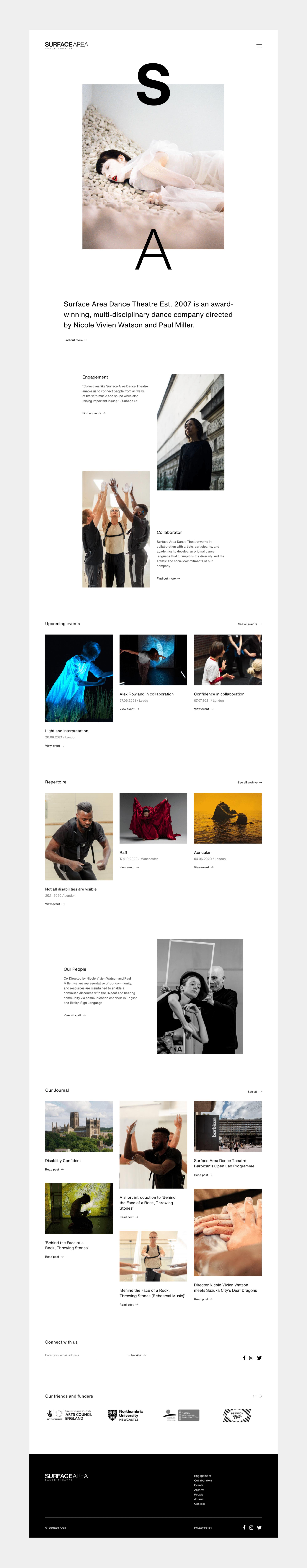 Surface Area website design by TAC